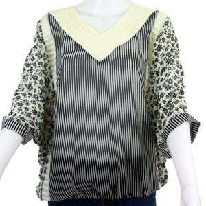 Cream and Black Batwing Blouse Size L